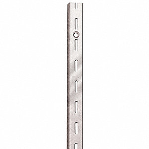 "Steel Single Slotted Standard, Zinc Finish, Silver, 11/16""W x 7/16""D x 120""H"