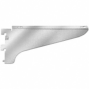 "3/4"" x 12"" x 4"" 11 Gauge Steel Shelving Bracket, Right Flange, Silver&#x3b; PK12"