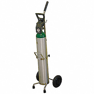 Steel Medical Cylinder Cart, 100 lb. Load Capacity, Plastic Wheel Type