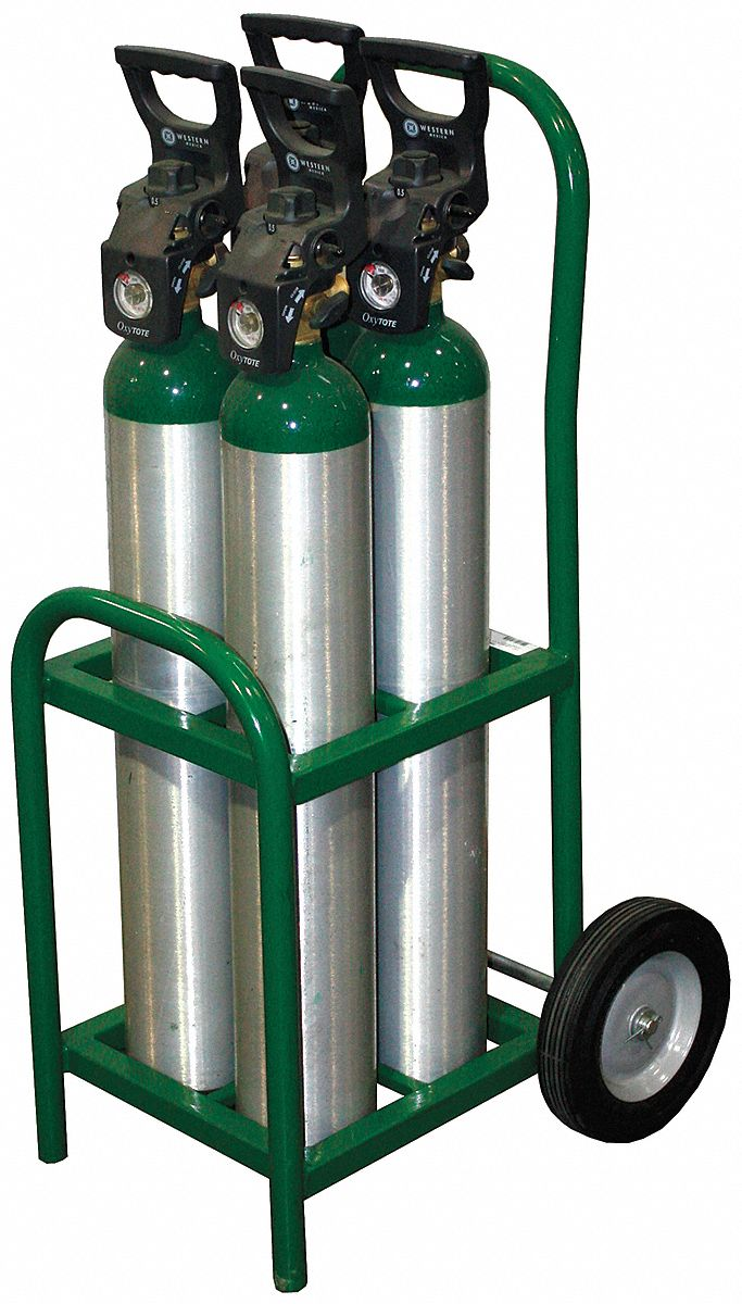 Two-Wheel Tilt-Back Vertical Medical Cylinder Cart,  250 lb Load Capacity,  15 in x 12 in x 35 in