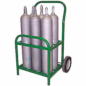 Steel Medical Cylinder Cart, 250 lb. Load Capacity, Semi-Pneumatic Wheel Type