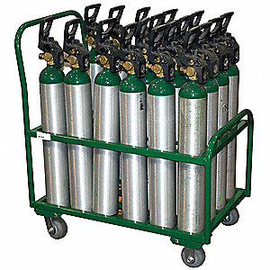 "37""H x 34""W x 33 1/4""D Steel Medical Cylinder Cart, Cylinder Capacity: 24"