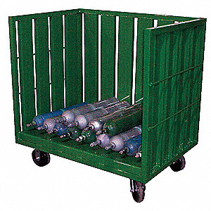 Steel Medical Cylinder Cart, 3200 lb. Load Capacity, (2) Rigid, (2) Swivel Casters Wheel Type