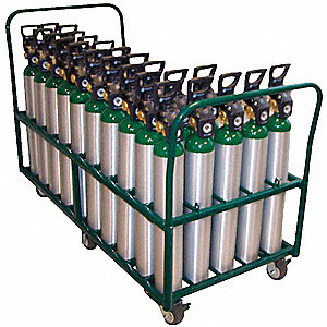 "38""H x 55""W x 57 1/4""D Steel Medical Cylinder Cart, Cylinder Capacity: 50"