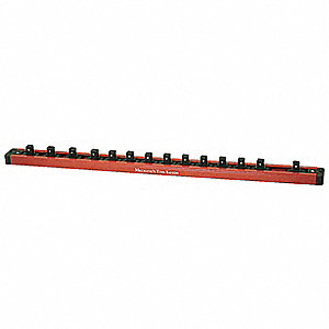 "Red and Black Magnetic Socket Holder, Aluminum / Plastic, 18-3/4"" Length, 1-3/8"" Width"