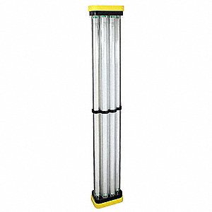 128W Fluorescent Hanging Temporary Job Site Light, Black/Yellow, 11,800 Lumens