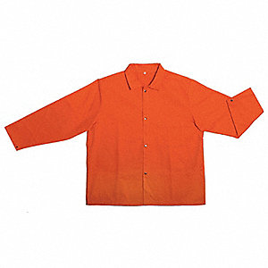 "Flame-Retardant Treated Cotton Jacket, Fits Chest Size 46"" to 48"", Orange"