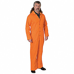 "Flame-Retardant Treated Cotton Coverall, Fits Chest Size 50"" to 52"", Orange"