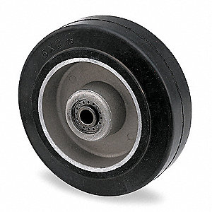 "6"" Caster Wheel, 410 lb. Load Rating, Wheel Width 2"", Rubber, Fits Axle Dia. 1/2"""