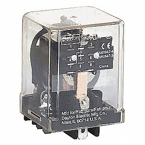 12VDC, 5-Pin Square Base General Purpose Plug-In Relay; AC Contact Rating: 10A @ 277V