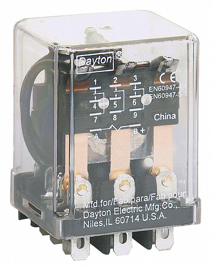 DAYTON 120VAC 11Pin Square Base General Purpose PlugIn Relay AC