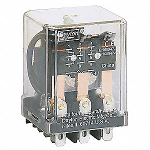 240VAC, 11-Pin Square Base General Purpose Plug-In Relay; AC Contact Rating: 10A @ 277V