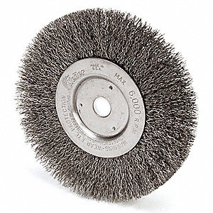 "6"" Crimped Wire Wheel Brush, Arbor Hole Mounting, 0.014"" Wire Dia., 1-7/16"" Bristle Trim Length, 1 E"