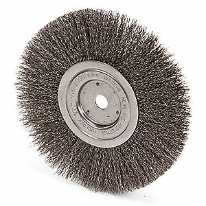 "8"" Crimped Wire Wheel Brush, Arbor Hole Mounting, 0.014"" Wire Dia., 2-1/16"" Bristle Trim Length, 1 E"