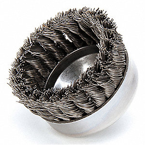 "4"" Knotted Wire Cup Brush, Arbor Hole Mounting, 0.023"" Wire Dia. 1-1/4"" Bristle Trim Length"