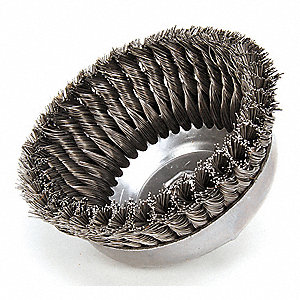 6 in Knotted Wire Cup Brush, Arbor Hole Mounting, 0.023 in Wire Dia. 1 3/8 in Bristle Trim Length