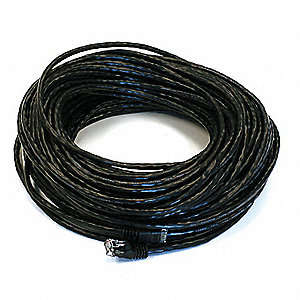 Black Ethernet Cable, Connector Type: RJ45 - 8P8C, Boot Type:  Booted, 100 ft. Length