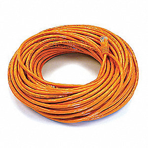 Patch Cord,Cat 6,Booted,Orange,100 ft.