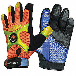 Anti-Vibration Gloves, Synthetic Suede Leather Palm Material, Black/Orange, M, PR 1