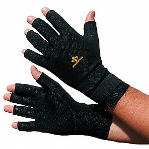 Anti-Fatigue Gloves, Nylon Palm Material, Black, 1 PR