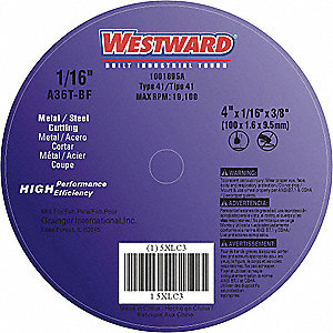 "4"" Type 1 Aluminum Oxide Abrasive Cut-Off Wheel, 3/8"" Arbor, 0.0625""-Thick, 19,100 Max. RPM"