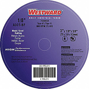 "3"" Type 1 Aluminum Oxide Abrasive Cut-Off Wheel, 3/8"" Arbor, 0.125""-Thick, 25,465 Max. RPM"