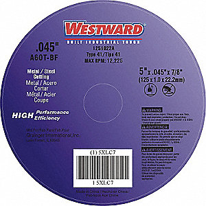 "5"" Type 1 Aluminum Oxide Abrasive Cut-Off Wheel, 7/8"" Arbor, 0.045""-Thick, 12,225 Max. RPM"