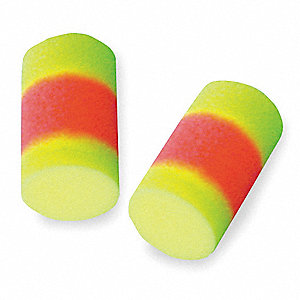 33dB Disposable Cylinder Shape Ear Plugs&#x3b; Without Cord, Yellow/Orange, L