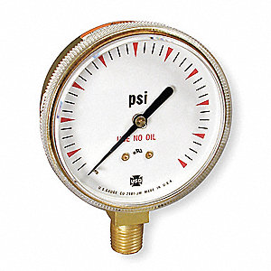 "Pressure Gauge, Welding Regulator Gauge Type, 0 to 100 psi Range, 2-1/2"" Dial Size"