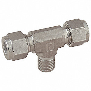 "Male Branch Tee, 3/8"" Tube Size, 3/8"" Pipe Size - Pipe Fitting, Metal, 13/16"" Hex Size"