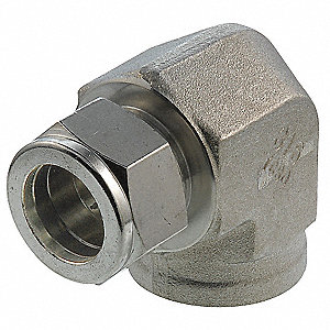 "Female Elbow, 90°, 5/8"" Tube Size, 1/2"" Pipe Size - Pipe Fitting, Metal, 1-1/16"" Hex Size"