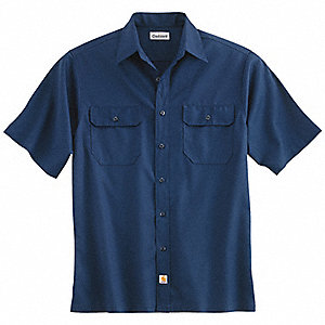 Short Sleeve Shirt, Navy, Poly/Cott, XL