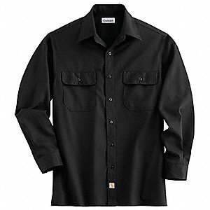 Long Sleeve Shirt,Black,Poly/Cott,XL