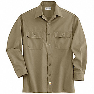Long Sleeve Shirt,Khaki,Poly/Cott,XL