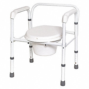 Stationary Commode w/Backrest with 250 lbs Maximum Weight, White