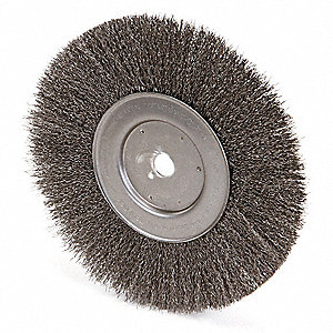 "10"" Crimped Wire Wheel Brush, Arbor Hole Mounting, 0.014"" Wire Dia., 2-1/2"" Bristle Trim Length, 1 E"