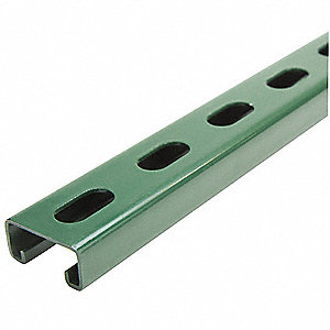 "Slotted Standard 1-5/8"" x 13/16"" Strut Channel, Green Painted Steel, 14 ga., 1 ft."