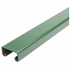"Solid Standard 1-5/8"" x 13/16"" Strut Channel, Green Painted Steel, 14 ga., 2 ft."