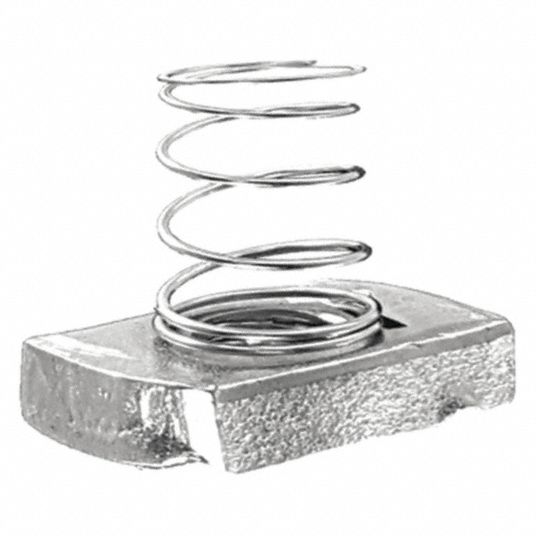 Channel Spring Nut,  Steel,  Electro Galvanized Finish,  1/4 in 20 Thread Size,  PK 25