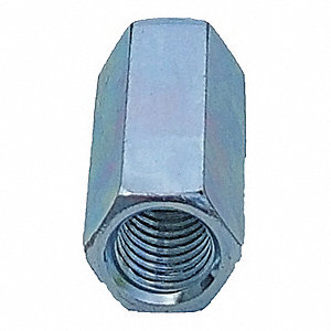 Thread Rod Coupling,1/4 In,Silver,PK25