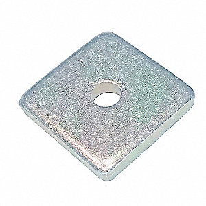 "Channel Square Washer,1/4"",Silver,PK25"