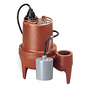 4/10 HP Automatic Submersible Sewage Pump, 115 Voltage, 65 GPM of Water @ 15 Ft. of Head