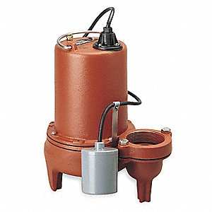 1 HP Automatic Submersible Sewage Pump, 230 Voltage, 200 GPM of Water @ 15 Ft. of Head