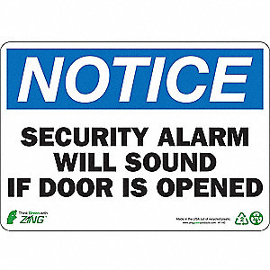 Notice Security Sign,7 x 10In,ENG,Text
