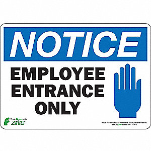 "Notice Sign, Employee Only, 7""x10"""
