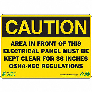 "Electrical Hazard, Caution, Plastic, 7"" x 10"", With Mounting Holes"