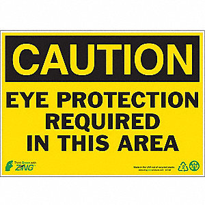 "Personal Protection, Caution, Aluminum, 10"" x 14"", With Mounting Holes"
