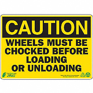"Chock Wheels, Caution, Plastic, 7"" x 10"""