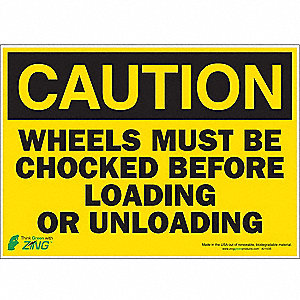 "Chock Wheels, Caution, Polyester, 10"" x 14"""