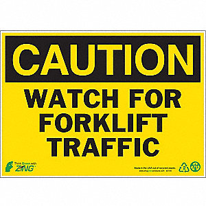 "Lift Truck Traffic, Caution, Aluminum, 10"" x 14"""